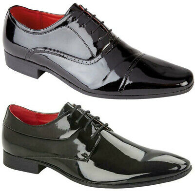 New Mens Black Formal Shiny Leather Brogue Oxford Work Office Lace Up Shoes UK