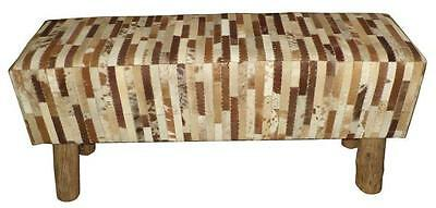 Tan & White Genuine Hair on Cowhide Leather Bench - 100cm Long