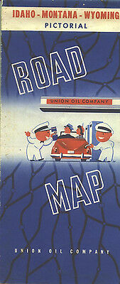 1948 Union 76 Idaho/Montana/Wyoming Vintage Road Map / Nice gas station art