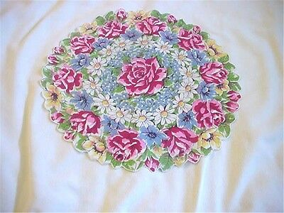 Vintage Handkerchief Hanky Round Gorgeous Abundant Flowers Colorful Roses etc.