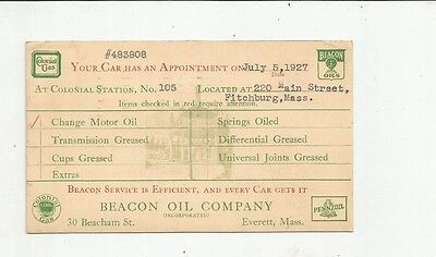 1927 Beacon Oil-Colonial Gas Fitchburg Mass Everett Advertising Postcard