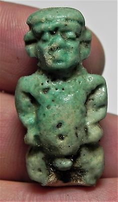 Zurqieh - Af1823- Ancient Egypt,  Faience Pataikos Amulet. 1075 - 600 B.