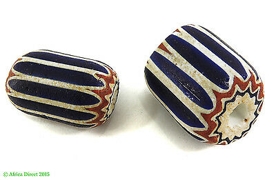 2 Chevron Venetian Trade Beads Six Layer African Loose SALE WAS $75