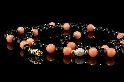 Vintage Chinese Peach Coral Onyx Beads Pearl 14K Gold Necklace