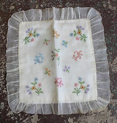 Antique 1920s Embroidered Sheer Organdy & Satin Pillow Cover Case Flowers