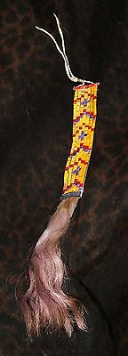 "Rare Sioux Quilled Hair Ornament 18.5"", Late 19th Century"