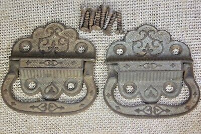 2 drop Handles Tool Box trunk Pulls old vintage rustic decorated iron genuine