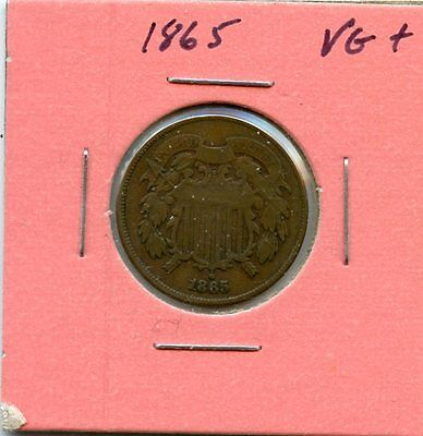 1865 Vg+ Two Cent Piece From Estate Starts @1.99