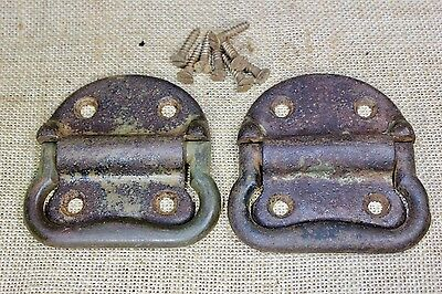 "2 Tool Box drop Handles Pulls old trunk 3 5/8"" rustic vintage Army green paint"