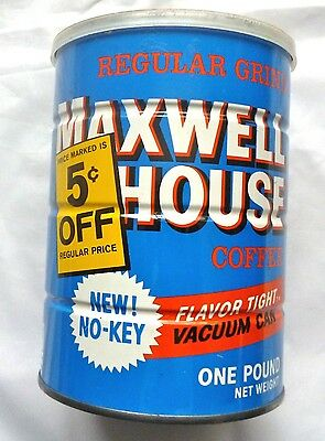 Vintage 1960s Maxwell House Coffee one pound can - no key - 5 cents off