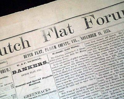 Rare DUTCH FLAT Placer County CALIFORNIA Gold Mining Town1875 Old West Newspape