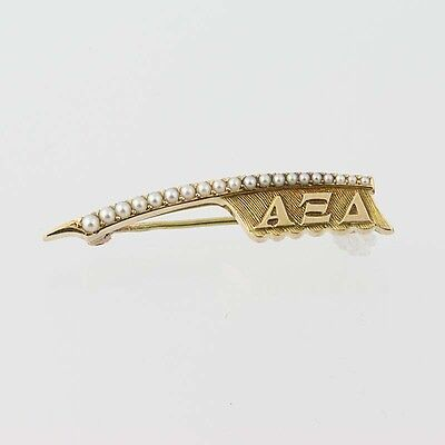 Alpha Xi Delta Badge - 14k Yellow Gold Pearls Sorority Greek Society Vintage Pin