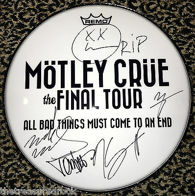 MOTLEY CRUE signed autographed 2014 FINAL TOUR DRUMHEAD by ALL 4 RARE Tommy Lee