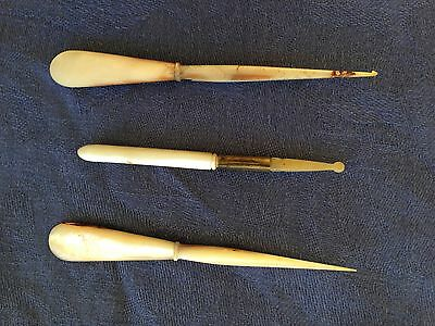 1800s Antique  French Palais Royal Mother-of-Pearl Crochet Hook Awl Sewing Tool