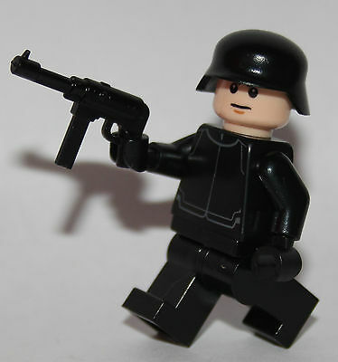 1 GERMAN Wehrmacht soldier WW2 & MP-40 -  lego custom figure BLACK soldier