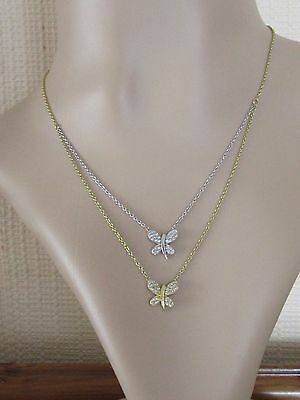 Secondhand 18ct yellow white gold diamond double butterfly pendant & chain
