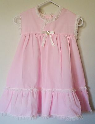 Vintage Toddler Dress Sz 3T Pink Lace Trimmed Ruffles Satin Bow Embroidered USA