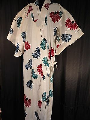 Japanese kimono Cotton linen Yukata floral S M waterfall 60's Blue red Teal long