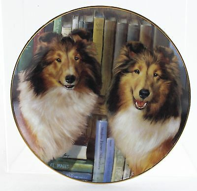 THE DANBURY MINT Bookends By Edward Aldrich Shetland Sheepdogs Collectible Plate