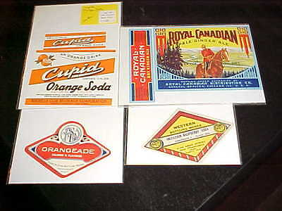 VINTAGE SODA BOTTLE LABELS 1940'S New Old Stock CUPID ORANGE - ROYAL GINGER ALE
