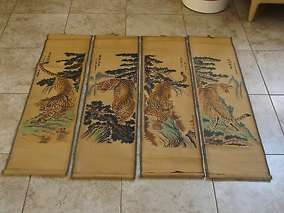 4 Chinese Tiger Scroll Prints Vintage, Bought in Beijing Market