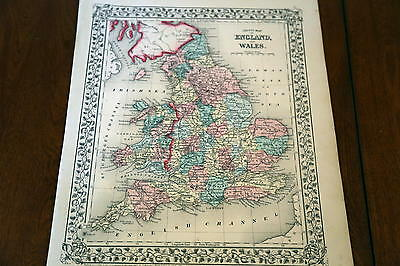 1867 Mitchell Antique Atlas Map-England-Handcolored-Beautiful Border
