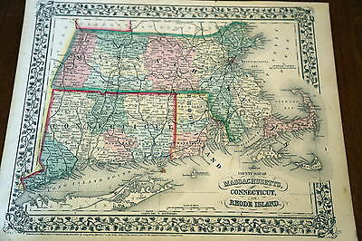 1867 Mitchell Antique Atlas Map-Massachusetts-Handcolored-Beautiful Border