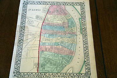1867 Mitchell Antique Atlas Map-St. Louis-Handcolored-Beautiful Border