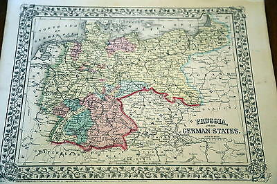 1867 Mitchell Antique Atlas Map-Prussia-Handcolored-Beautiful Border
