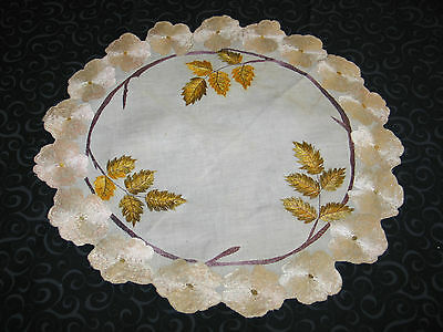 Lovely Antique Hand Embroidered Society Silk Doily~Centercloth~Fall Leaves