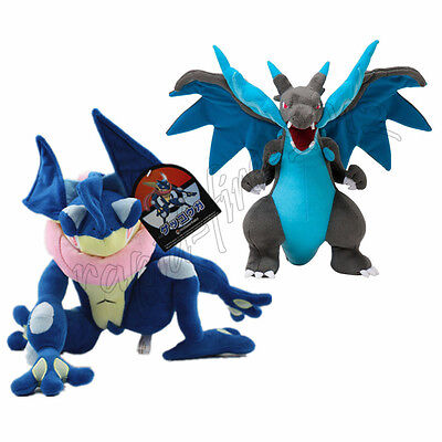 2pcs Pokemon Center Mega Charizard X & Greninja Stuffed Plush Toy Doll Gift
