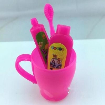 4PC/Set Doll Toothbrush Tooth Cup Toothpaste Doll House Furniture Toy For Barbie