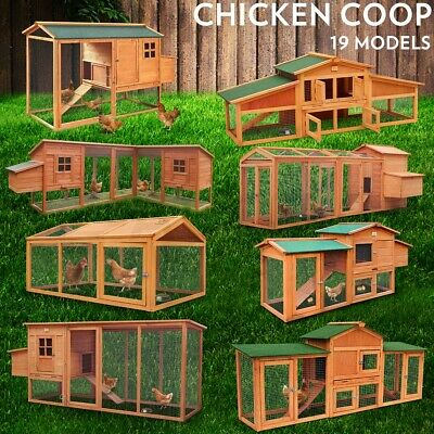 Rabbit Chicken Coop Guinea Pig Ferret Hen Cage House Large 2 Storey Run Wooden