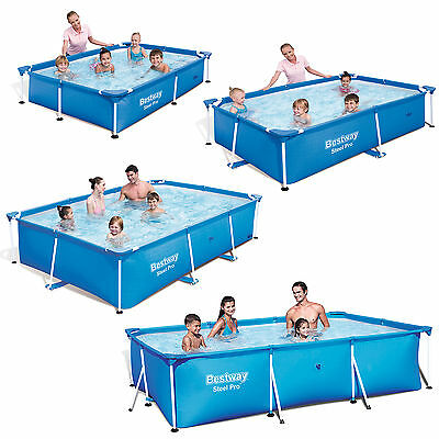 Bestway Steel Pro Splash Rectangular Family Frame Swimming Pool in four sizes