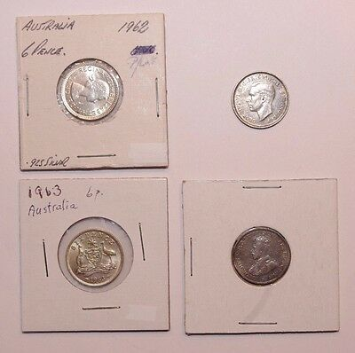 1921, 1943, 1962 & 1963, Sixpence Australia Silver a Lot of 4 High Value Coins
