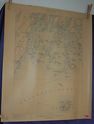 1912 Monhegan  Island & Region  US Geological Survey Topographical  Map