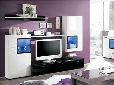 schrankwand v h lsta mit beleuchteter glasvitrine u fernsehschr in buche wei eur 300 00. Black Bedroom Furniture Sets. Home Design Ideas