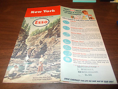 1951 Esso New York Vintage Road Map /Nice Cover Art