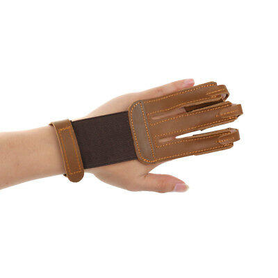 Cow Leather Archery 3 Fingers Glove Guard Gear Hunting Shooting Accessories