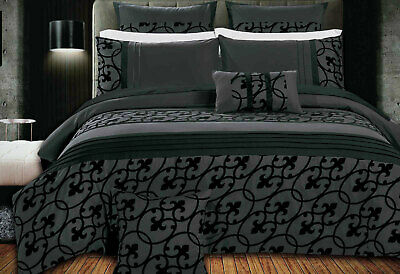 Dursley Black Grey SUPER KING / QUEEN Duvet cover / Quilt Cover Set / Accessory