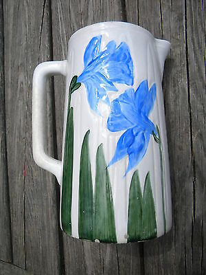 Antique Early Wheeling Pottery Co Ironstone Pitcher White Blue Daffodils