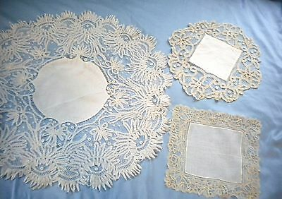 Lot Of 3 Antique Beautifully Patterned Intricate Lace Linen Doilies