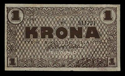 ICELAND - 1941 World War Two Era One Krona Banknote P22f - VF