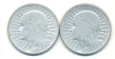 Poland 1932 & 1933 Crown Queen Jadwiga Silver 2 Zlotych