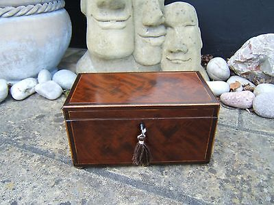 Lovely Georgian  Inlaid Flame Mahogany Antique Jewellery Box - Fab Interior