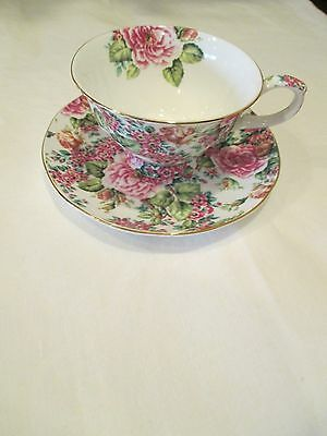 Edwardian Collection Pink Floral Tea Cup and Saucer Chintz Gold Trim