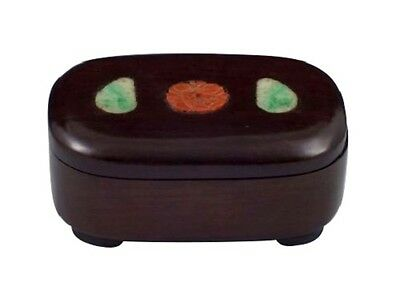 Small 19th / 20th Century Chinese Wooden Covered Box w/ Jade & Carnelian