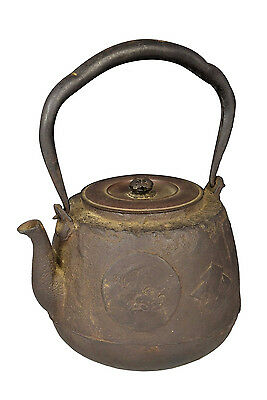 Antique Signed Japanese Meiji Period Iron Tetsubin / Tea Kettle Pot
