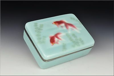 Fine Signed Meiji Period Japanese Wireless Cloisonne on Silver Box with Fish