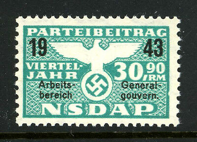 Germany 1943 Nazi Party NSDAP Dues 30.90 RM Revenue Stamp WWII MNH UMM 7C10 38